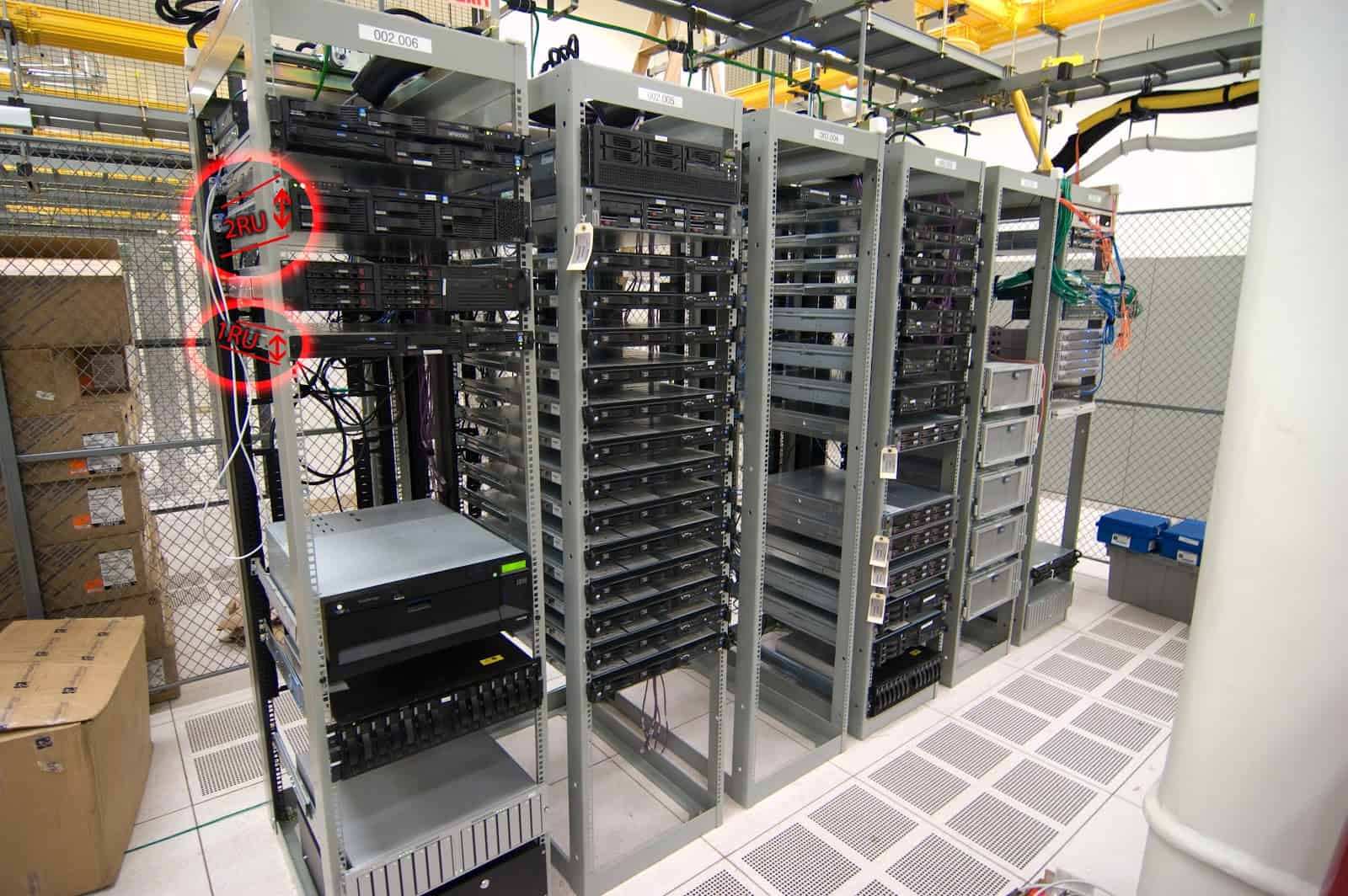 A standard server rack. Check the red circles to see how the vertical  height system works [3]