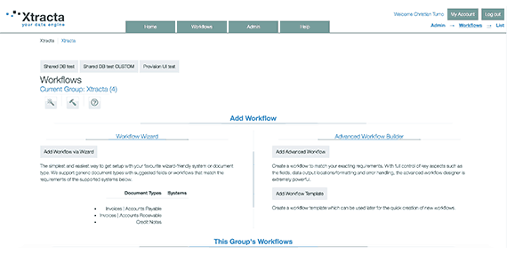 Xtracta Workflow Dashboard Screenshot