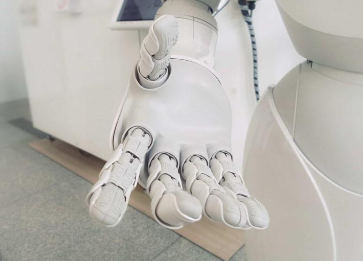 A machine hand reaching out