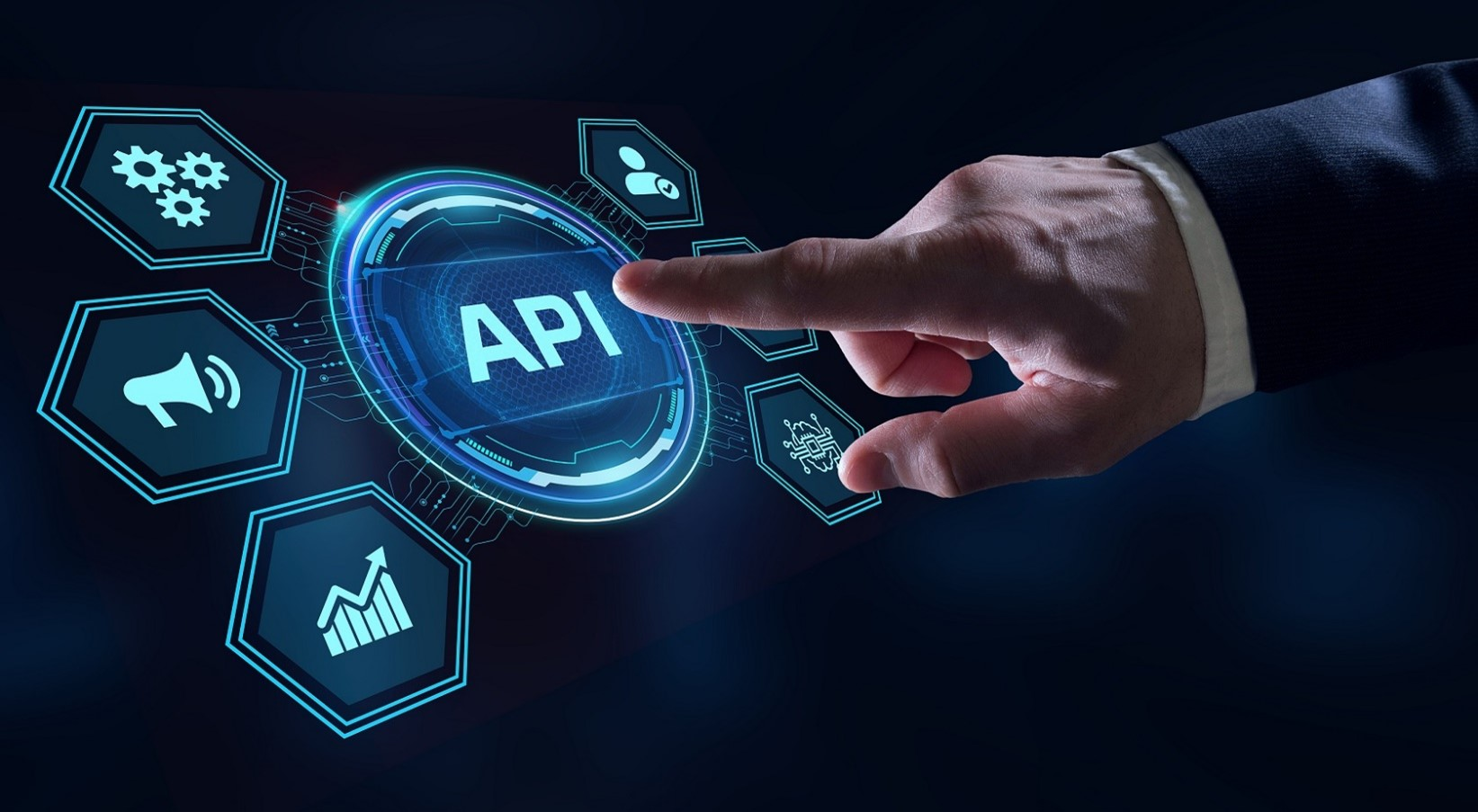 A picture of business OCR solutions, featuring a hand hovering over API integration software icon